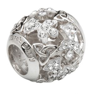 Silver Trinity Angel Bead Encrusted With White Crystals Td231