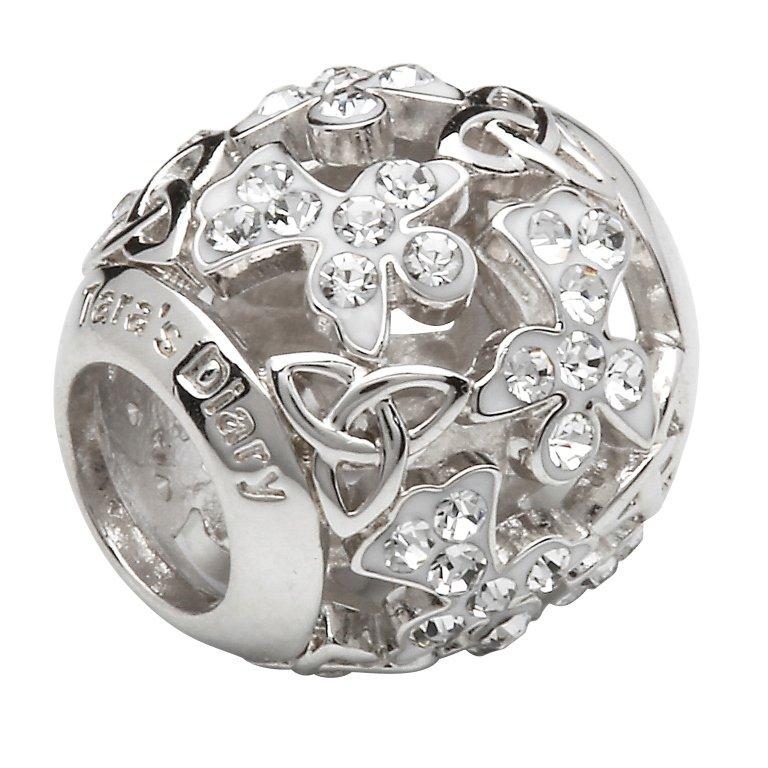 Silver Trinity Angel Bead Encrusted With White Swarovski Crystals Td231