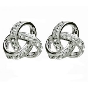 Silver Trinity Knot Earrings Encrusted With White Crystal Sw98