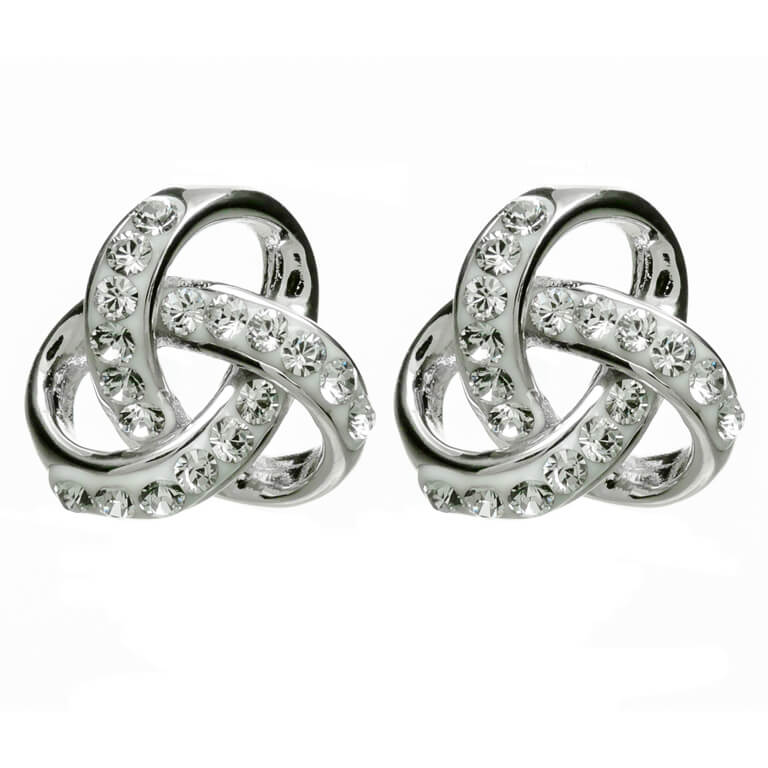 Silver Trinity Knot Earrings Encrusted With White Swarovski Crystal Sw98