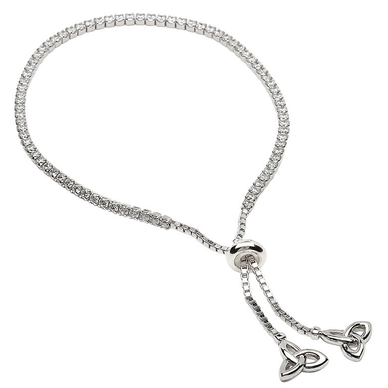 Silver Trinity Knot Stone Set Bracelet Sb2218