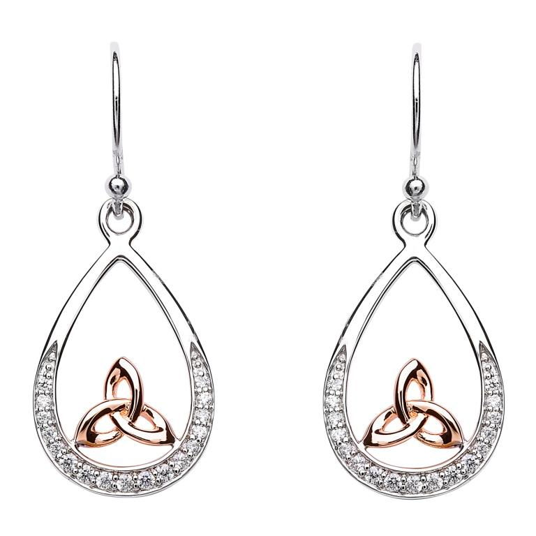 Silver Trinity Knot Stone Set Rose Gold Plated Earring Se2089Cz