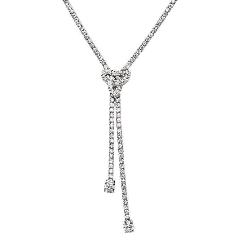 Silver Trinity Stone Set Necklace Sp2235