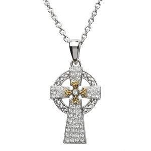Silver Two Tone Cross Adorned With Swarovski Crystal Sw94