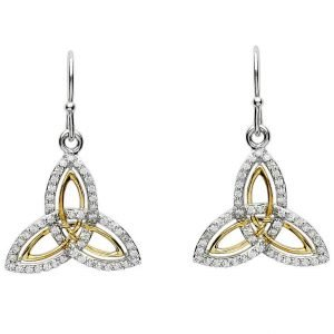 Silver Two Tone Stone Set Trinity Knot Earrings Se2234