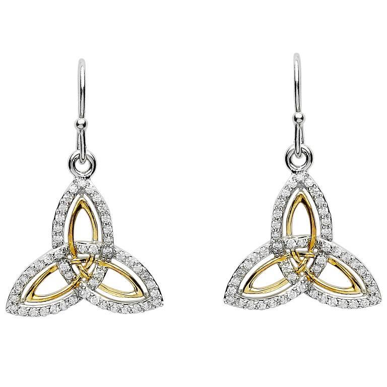 Silver Two Tone Stone Set Trinity Knot Earrings Se2234