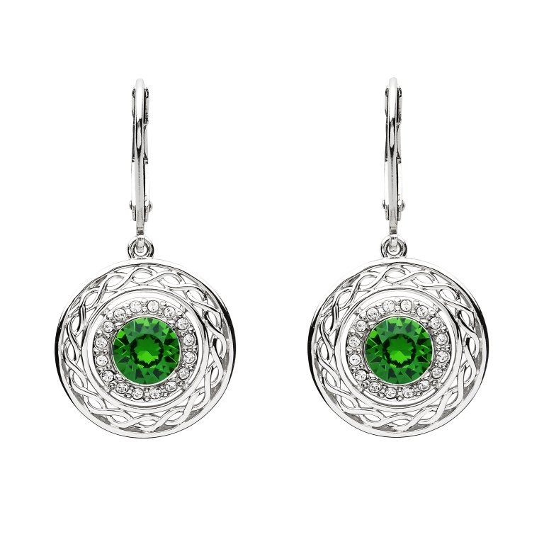 Sterling Silver Celtic Halo Earrings Adorned With Swarovski Crystals Sw166