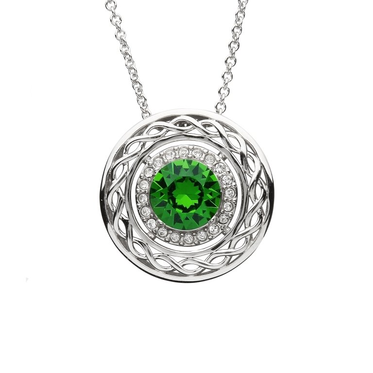 Sterling Silver Celtic Halo Pendant Adorned With Swarovski Crystals Sw165