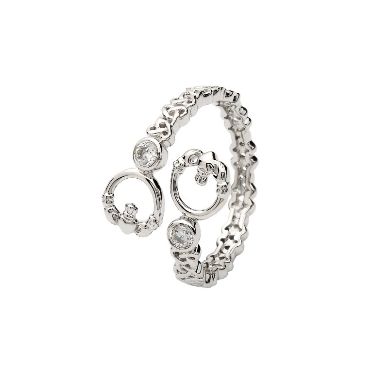 Sterling Silver Claddagh Crisscross Ring Sl105