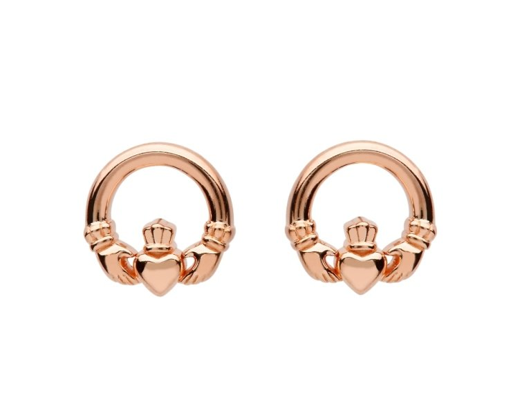 Sterling Silver Claddagh Rose Gold Plated Stud Earrings Se2249