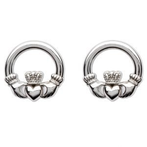 Sterling Silver Claddagh Stud Earrings Se2119