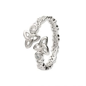 Sterling Silver Double Trinity Knot Crisscross Ring Sl104