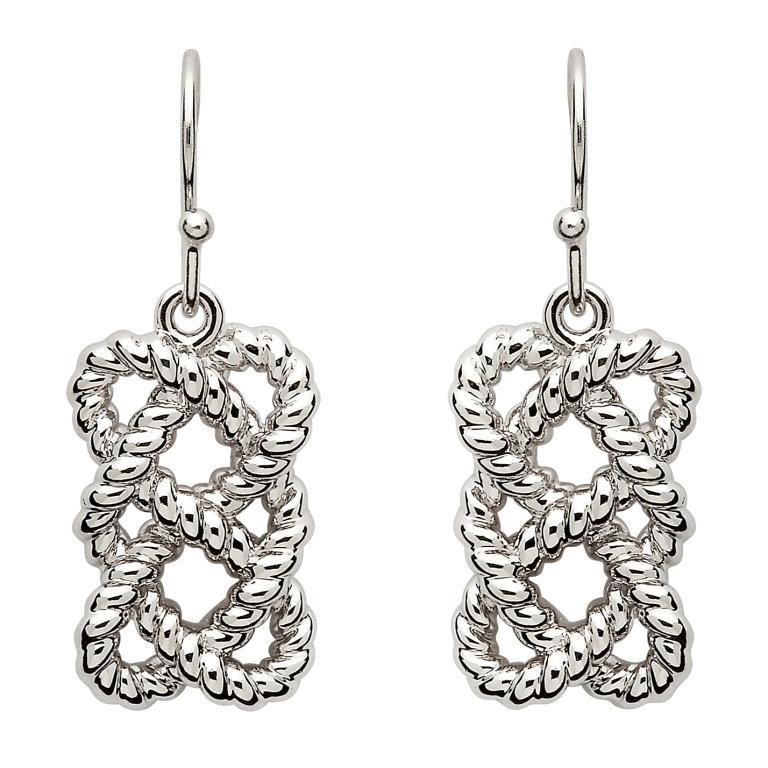 Sterling Silver Fishermans Knot Earrings Se2105
