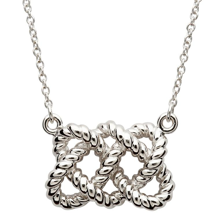 Sterling Silver Fishermans Knot Necklace Sp2104