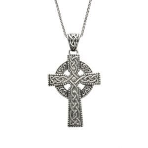 Sterling Silver Large Celtic Cross With Detailed Intricate Design Sp2242