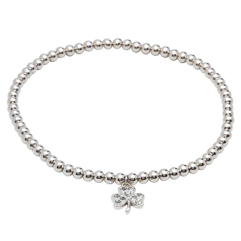 Sterling Silver Shamrock Bracelet Adorned With White Swarovski Crystal Sw69