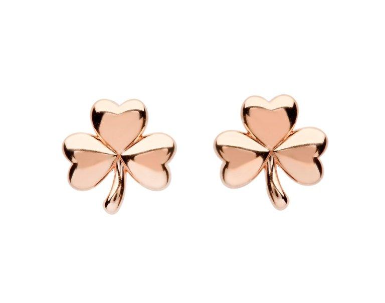 Sterling Silver Shamrock Rose Gold Plated Stud Earrings Se2248