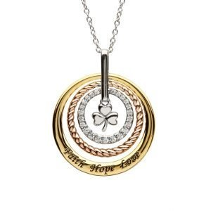 Sterling Silver Shamrock Triple Circle Necklace Sw160