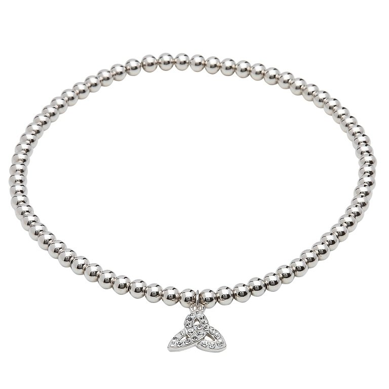 Sterling Silver Trinity Bracelets Adorned With White Crystal Sw67