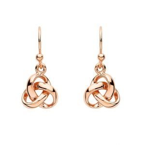 Sterling Silver Trinity Knot Rose Gold Plated Drop Earrings Se2239