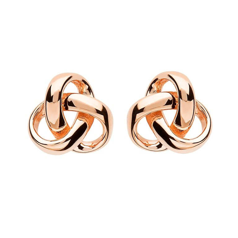 Sterling Silver Trinity Knot Rose Gold Plated Earrings Se2238