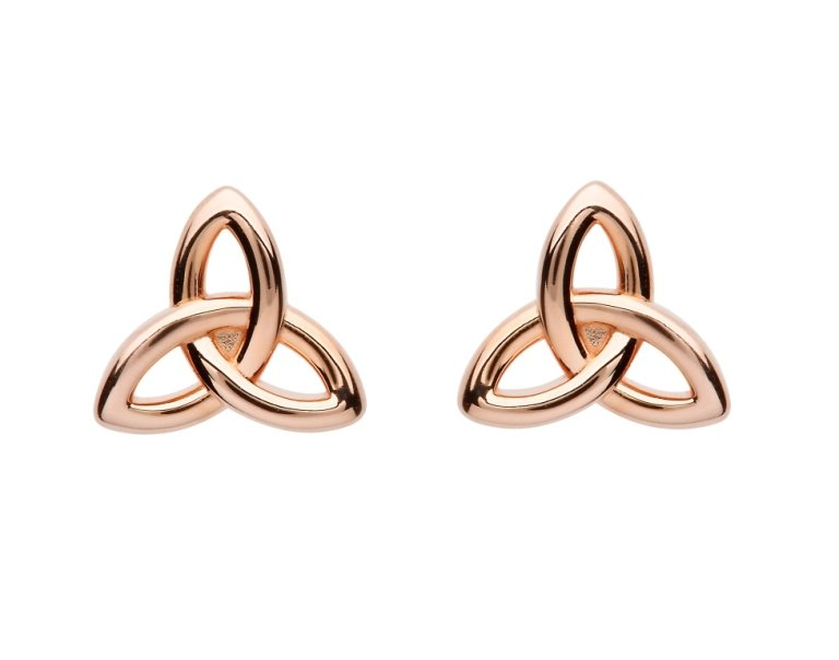 Sterling Silver Trinity Rose Gold Plated Stud Earrings Se2250