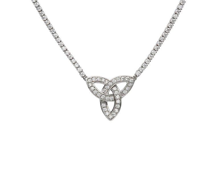 Sterling Silver Trinity Stone Set Necklace Sp2252