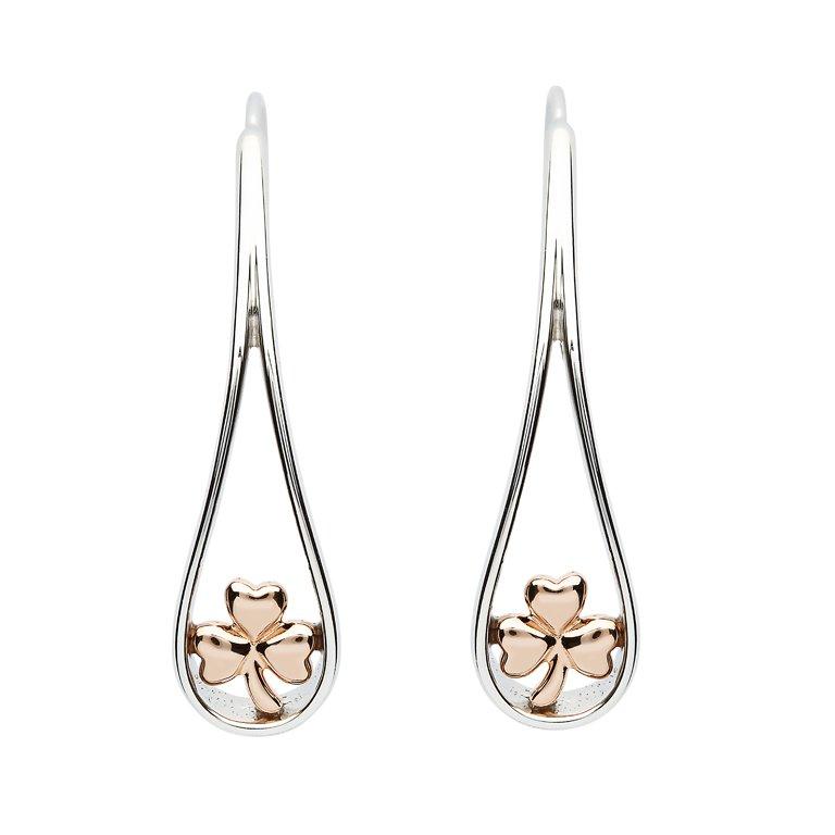 Sterling Silver Two Tone Shamrock Earrings Se2265
