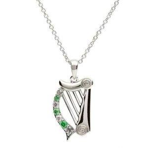 Stone Set Harp With Celtic Design Sp1088