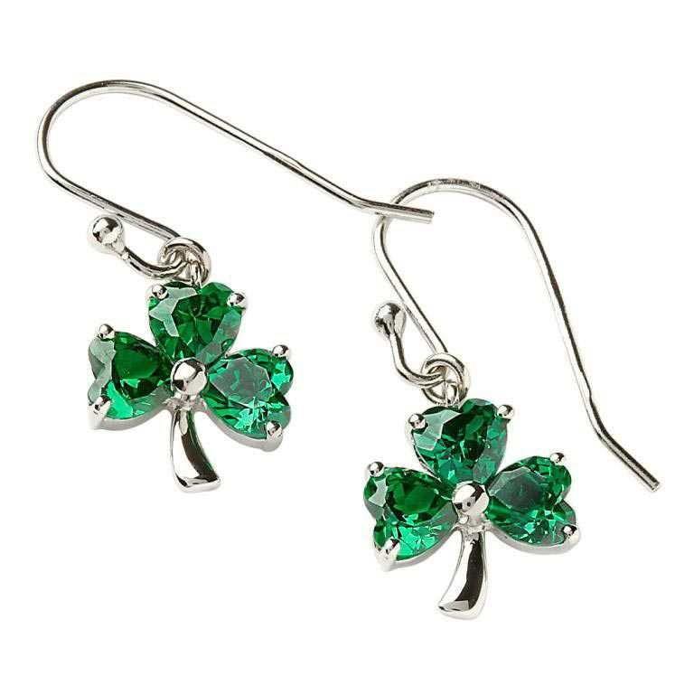 Stone Set Shamrock Silver Green Earrings Se2006