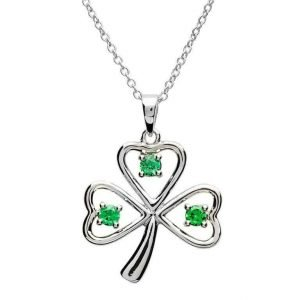 Stone Set Shamrock Silver Necklace Sp1090