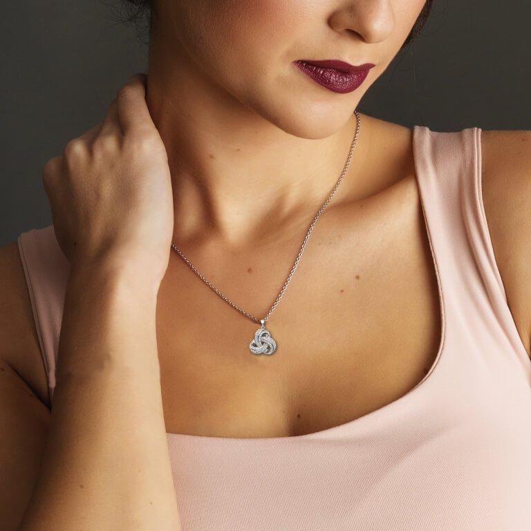 Stone Set Trinity Pendant Encrusted With Swarovski Crystals Sw97_2