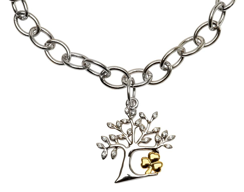 Tree Of Life Shamrock Bracelet Sb2095Cz