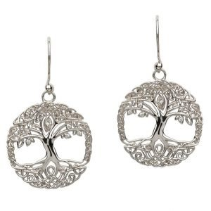 Tree Of Life Silver Earrings Se2103Cz