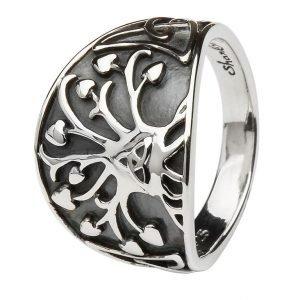 Tree Of Life Trinity Knot Silver Ring Sd18