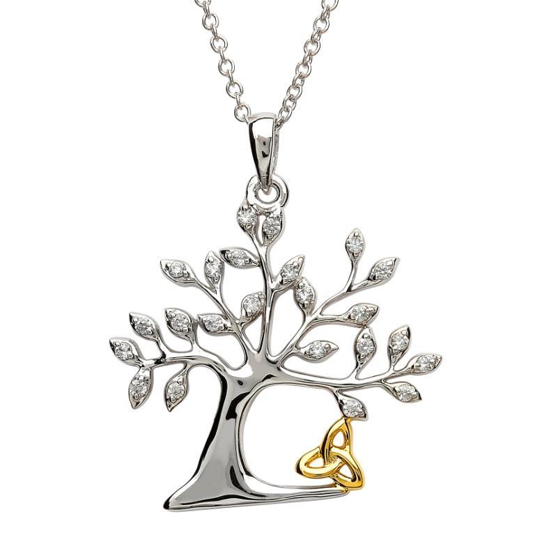 Tree Of Life Trinity Necklace Sp2093Cz
