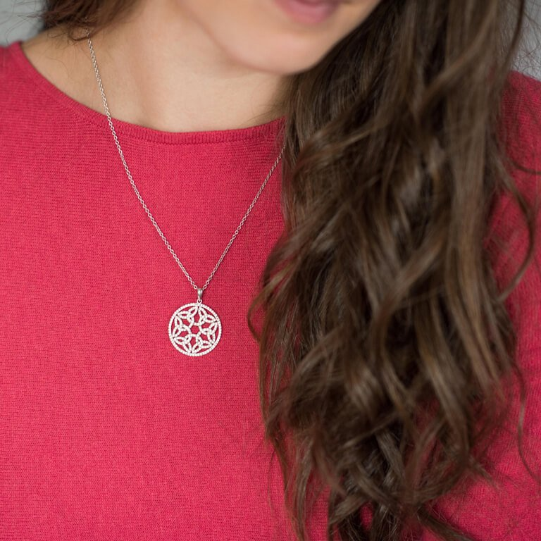 Trinity Circle Necklace Embellished With Swarovski Crystals Sw20_2