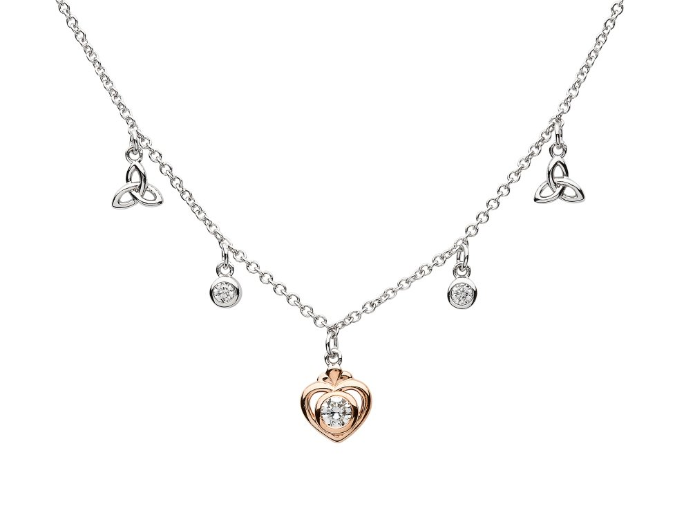 Trinity Heart Sterling Silver Necklace Td256