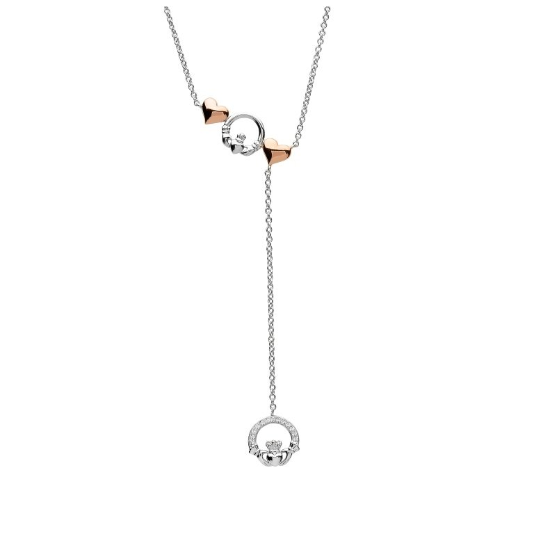 Twin Sterling Silver Trinity Rose Lariat Style Necklace Sw162