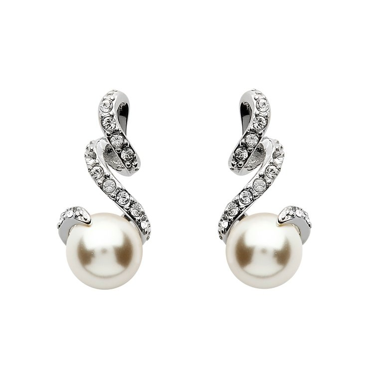 Twist Pearl Earrings Embellished With White Swarovski Crystals St75