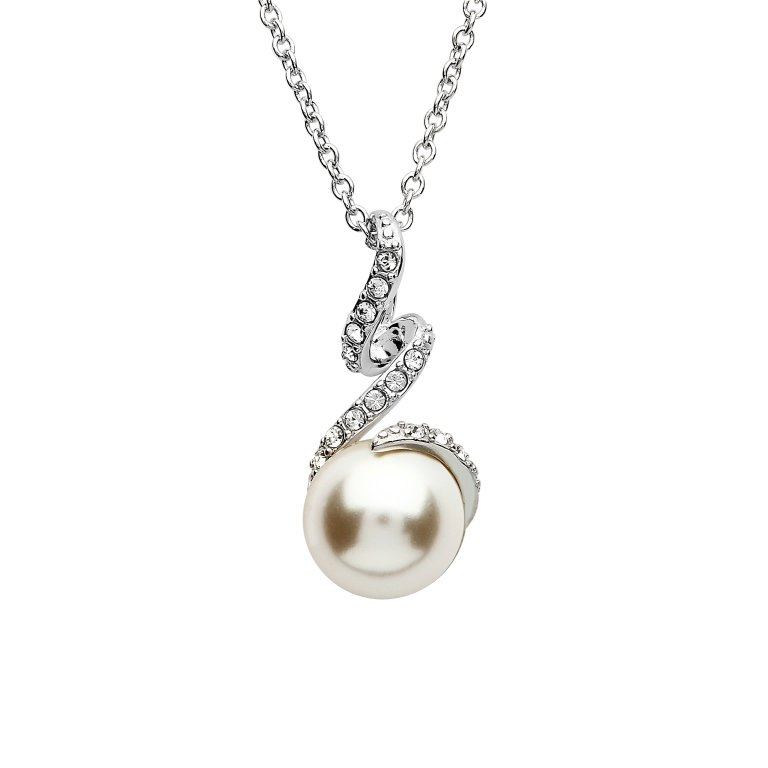 Twist Pearl Pendant Embellished With White Swarovski Crystals St74