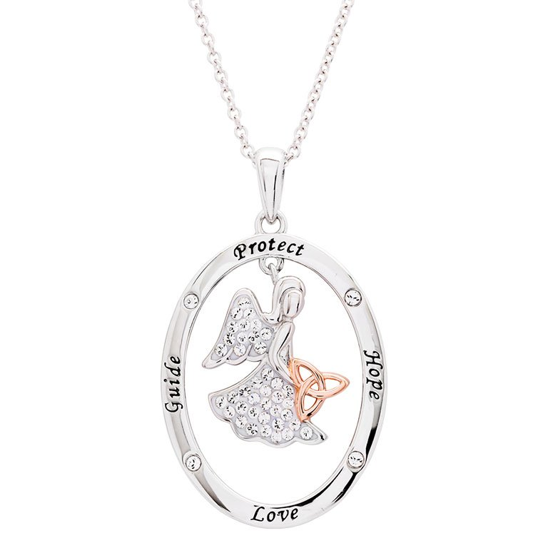 SS SW Guide Protect Hope Love Angel Trinity Pendant