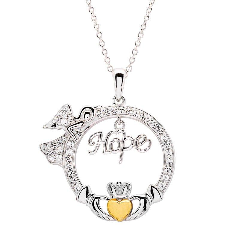 hope angel claddagh pendant
