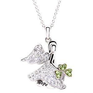 hope angel shamrock pendant
