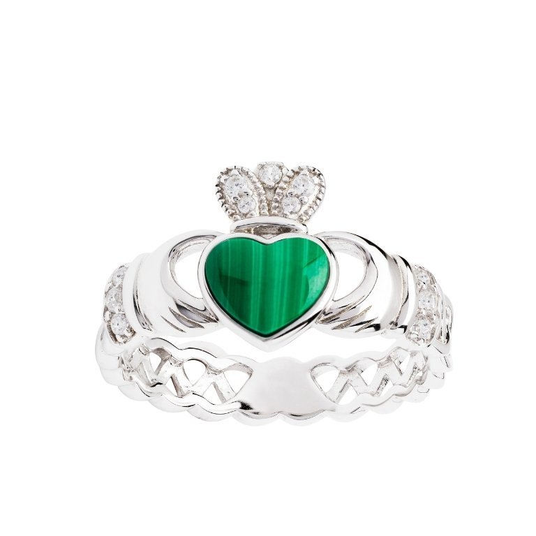 Sterling Silver Malachite Claddagh Ring