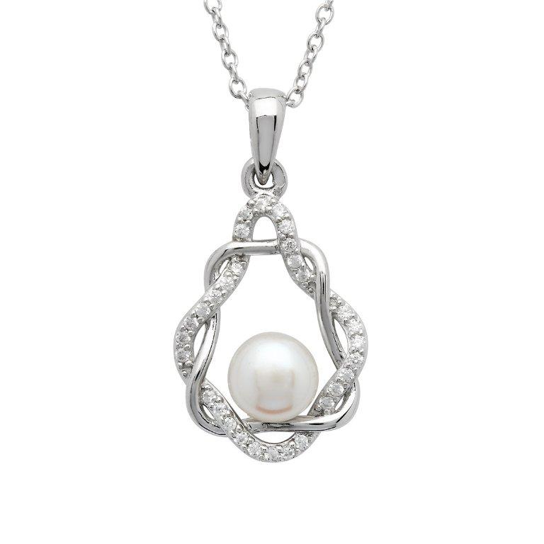 Celtic Pearl Teardrop Sterling Silver Pendant