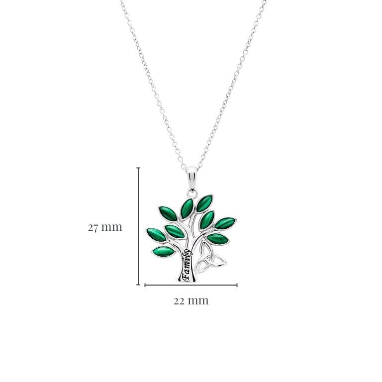 Family Tree of Life Malachite Pendant with Measurement