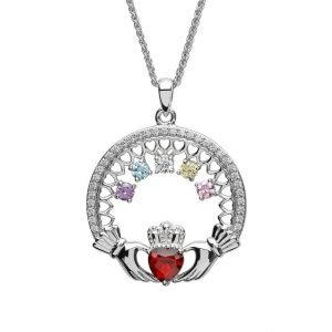 five stone family claddagh pendant