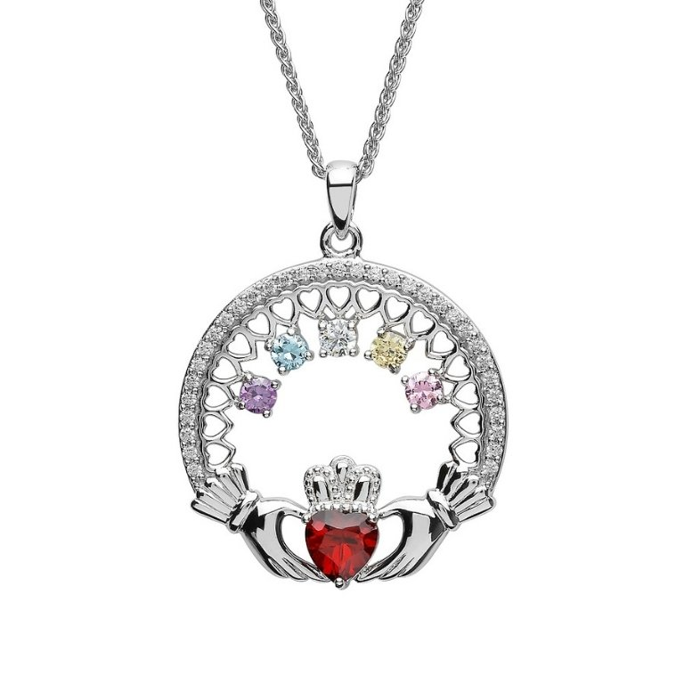 five stone family claddagh pendant