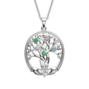 five stone family tree of life pendant